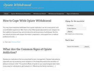 Opiate Withdrawal 411